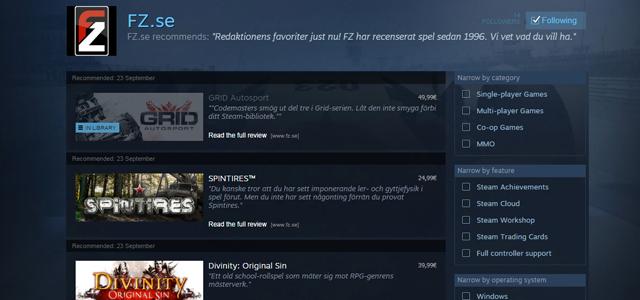 FZ tipsar – bäst på Steam!